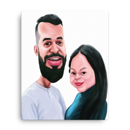 Caricature Drawing on Canvas Print
