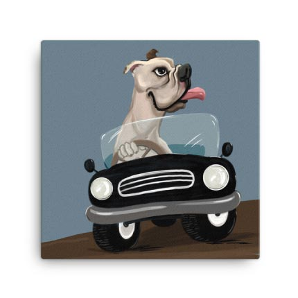 Caricature Drawing of Dog on Canvas Print