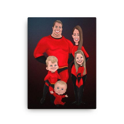 Caricature Drawing of Group on Canvas Print