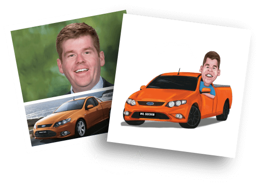 Before/After Car Caricature