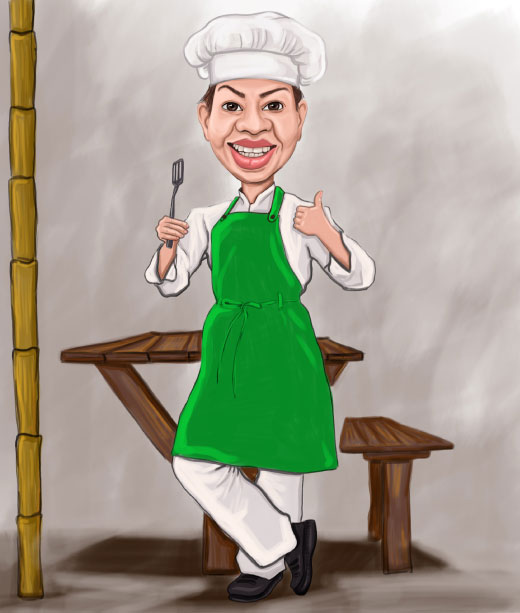 Lady Chef While preparing foond in kitchen caricature