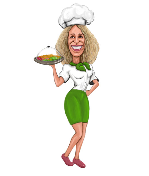 Chef Waitress in uniform while carrying fruit caricature