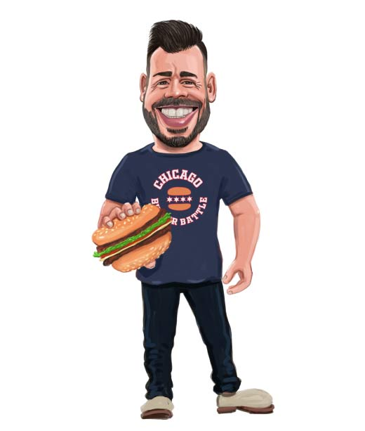 Chef holding a burger caricature