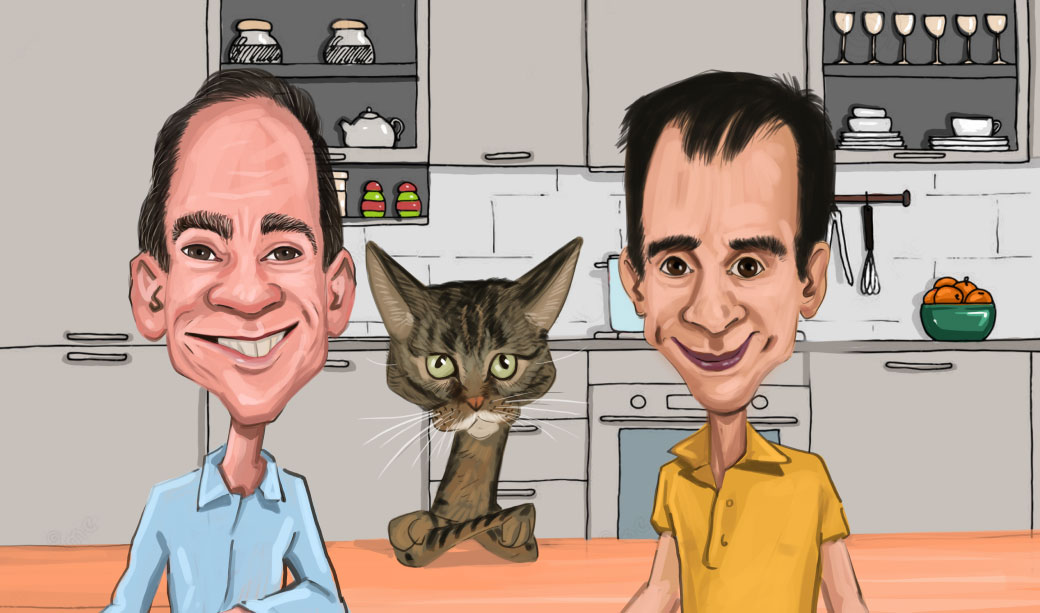 2 Chefs and a Cat inside Kitchen Caricature