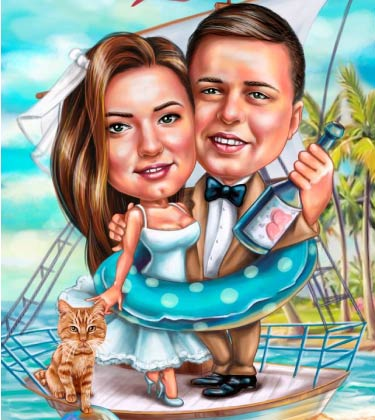 Boat caricature of married couple
