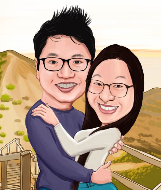 Funny Caricature of a Couple with Glasses on Mountain Top