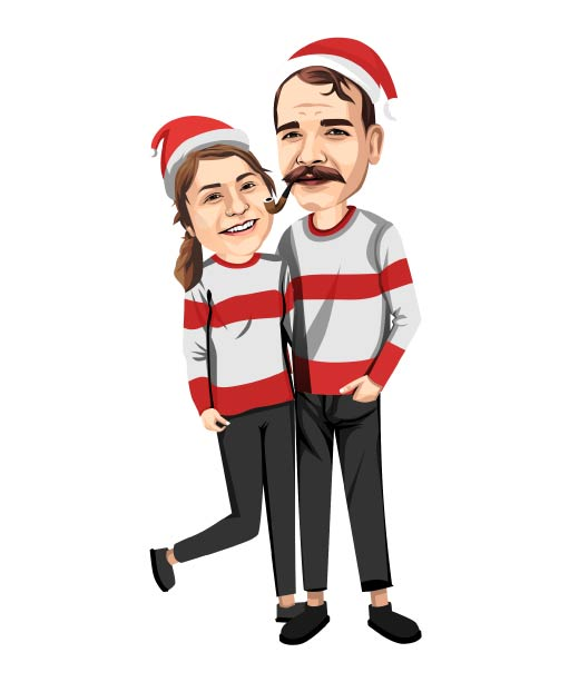 Christmas Caricature of Couple in Santa Wear