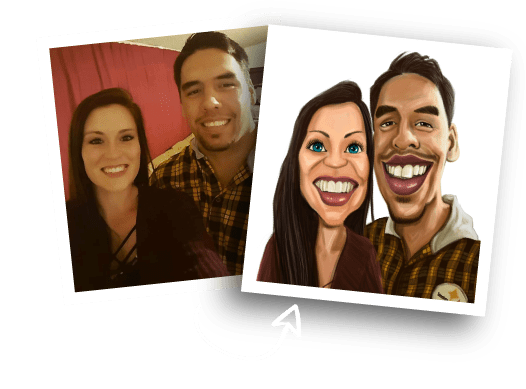 Before/Afer Couple Caricature