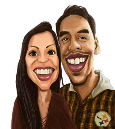 Funny Caricature of young couple with large smile