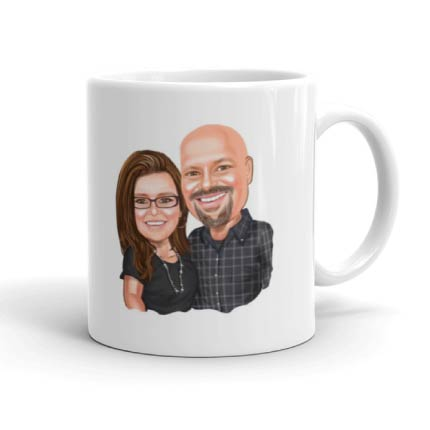 Bold husband and skinny wife drawing on mug