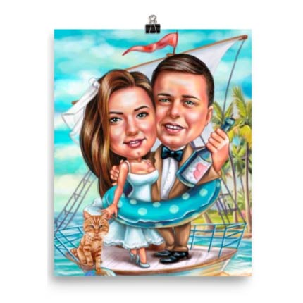 Poster with couple on boat