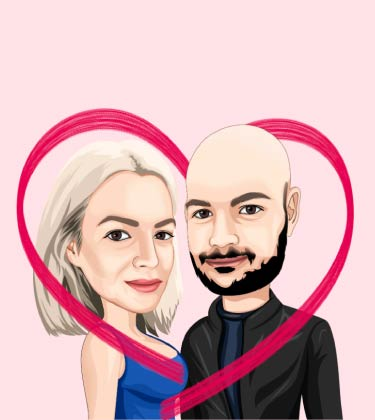 Cartoon Portait of couple inside heart