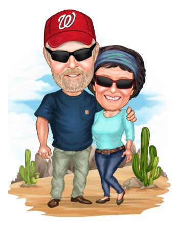 Older Guy and Lady in desert