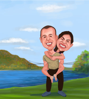 Cartoon Superhero Caricature of Couple