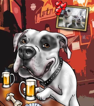 Dog in bar holding beer