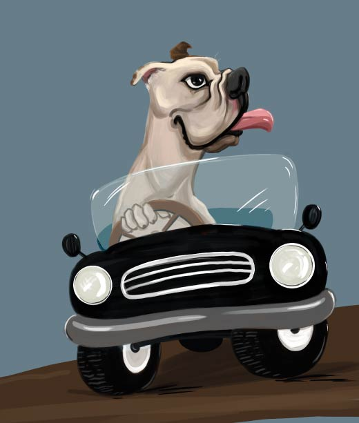Exaggerated Dog Driving Car with His Tongue Out