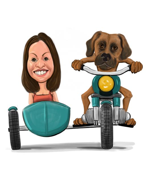 Dog Driving a Motorcycle with Girl next to him Caricature