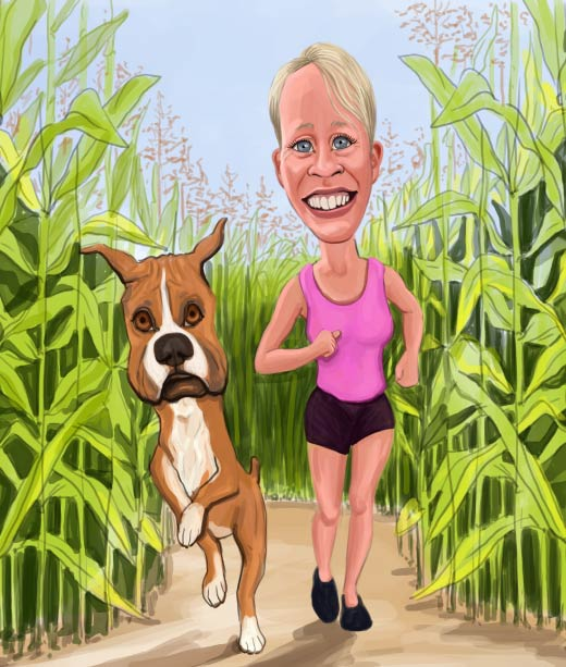 Woman and a Dog Running in the Grass Caricature