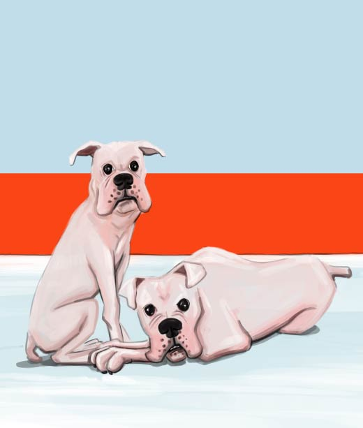 Realistic Drawing of Mother and Father Dogs
