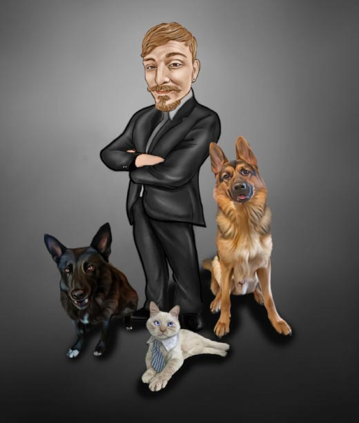 Pet Owner with his two dogs and a cat drawing