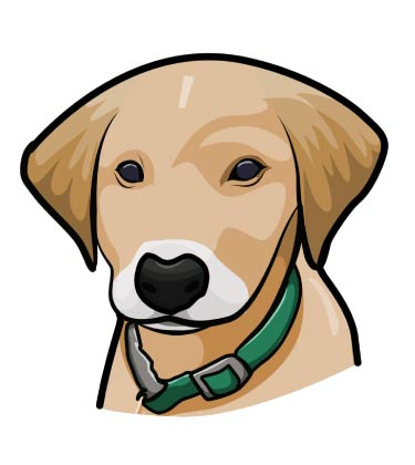 Cartoon Puppy Caricature with Green Necklace