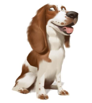 Realistic Caricature of Cute Brown Dog