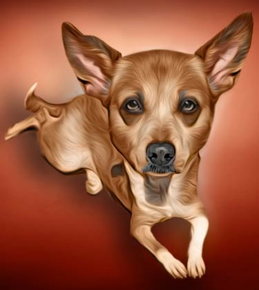 Cartoonish brown dog portrait