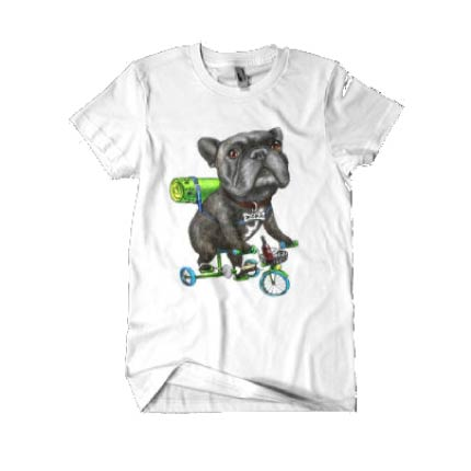 T-shirt caricature of dog on bicycle
