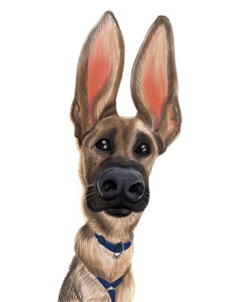 Caricature of Dog with large ears