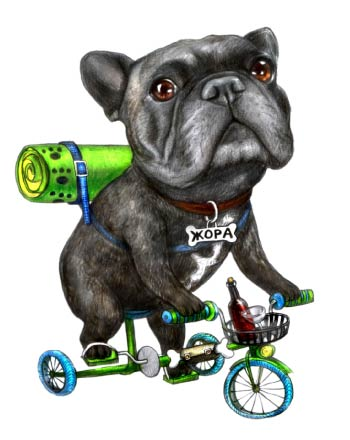 Dog on Bike with Backpack Caricature
