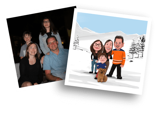 Before/Afer Family Caricature