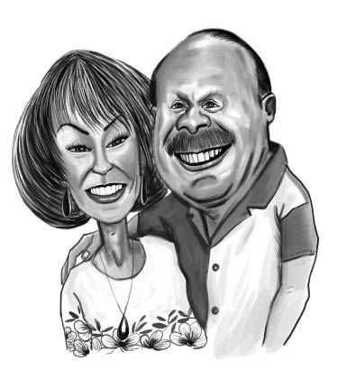 Black and White Drawing of older couple