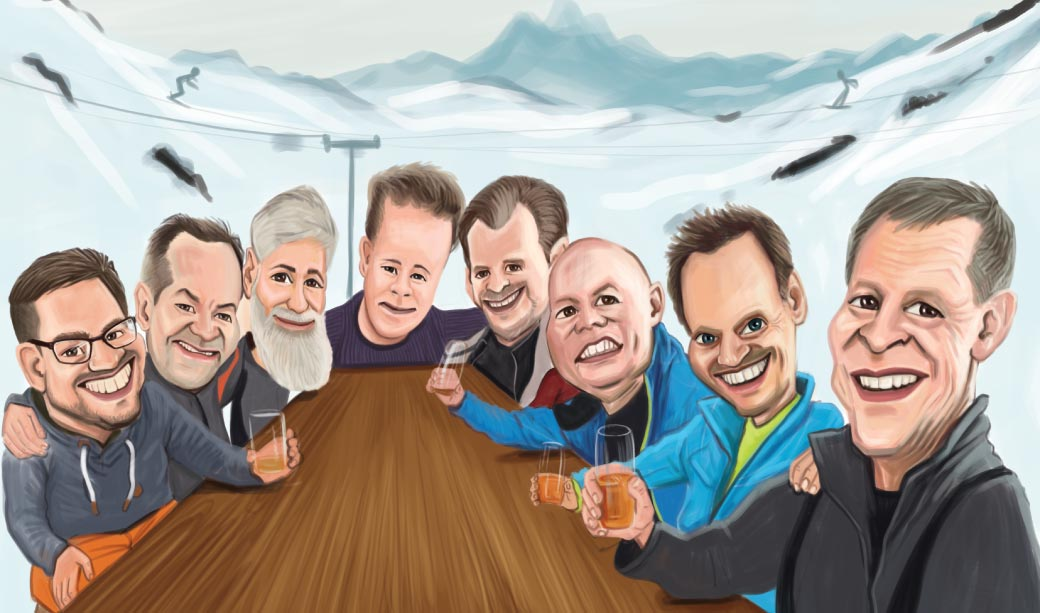 Funny Caricature of a Group of People Sitting at the Outdoor Table in the Mountains