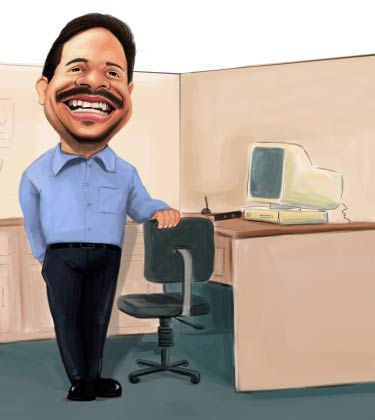 Caricature of a guy at his working desk