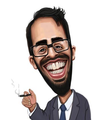 Funny Caricature of businessman with cigar and suit