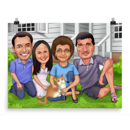 Family in front of the house printed on poster