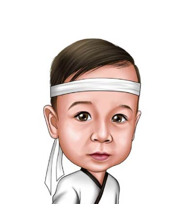 Realistic Caricature of kid made as samurai