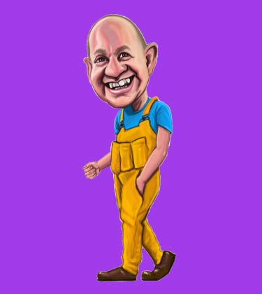 Funny caricature of repair man