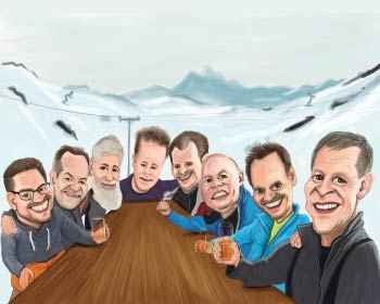 Caricature of friends at mountain drinking