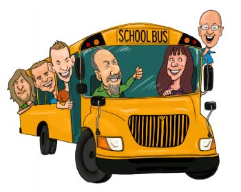 Group caricature inside the school bus