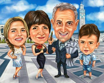 Parents with 2 kids caricature at square