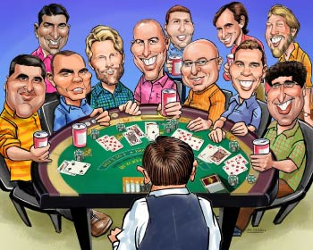 Caricature of friends during the poker party