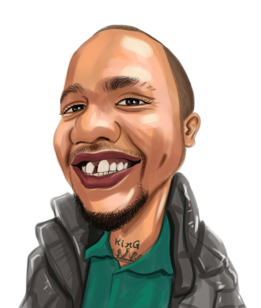 Tattooed Black Male Caricature wearing a jacket