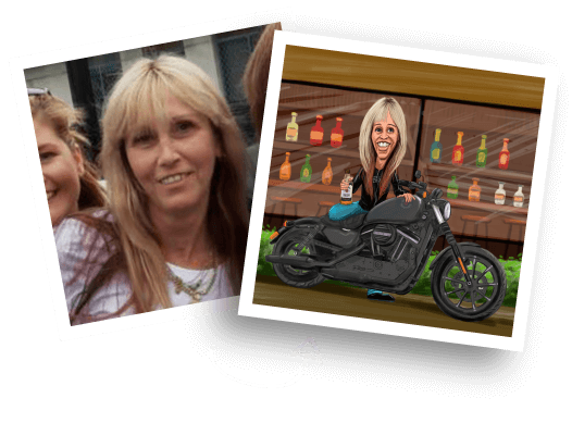 Before/After Motorcycle Caricature