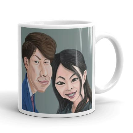 Caricature Drawing on Mug Print