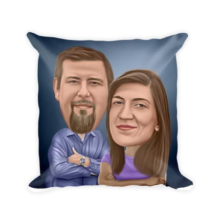 Caricature Drawing on Pillow Print