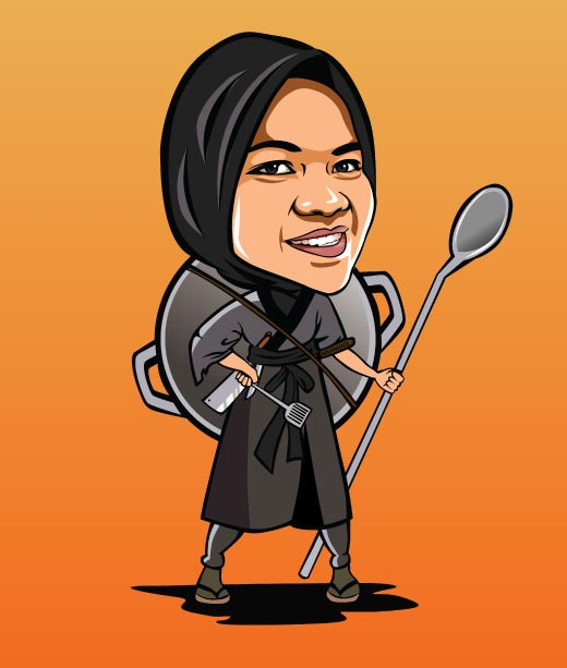 Funny Ninja Warrior Caricature of Woman