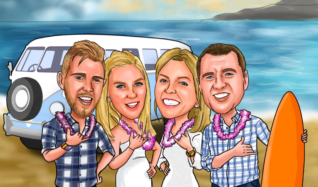 Cartoon Caricature of Four Friends in front of Van with surfboards