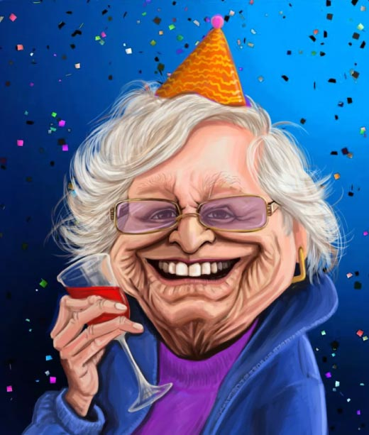 Funny Caricature Portrait of Grandma