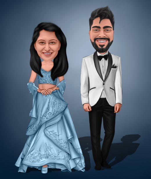 Full Body Drawing of Wedding Couple